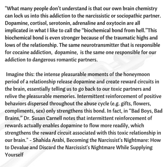 What many people don't understand is that our own brain chemistry can lock us into this addiction to the narcissistic or sociopathic partner. Dopamine, cortisol, adrenaline and oxytocin are all implicated in (1).png